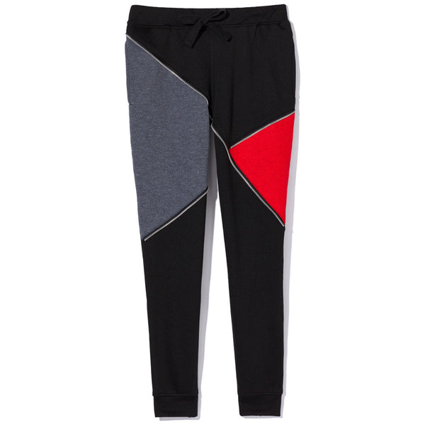 Just Zip It Black/Charcoal Colorbock Fleece Jogger - Citi Trends Boys - Front