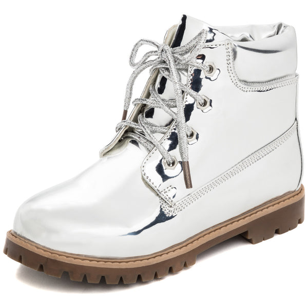 Take A Hike Girls Silver Metallic Work Boot - Citi Trends Girls - Front