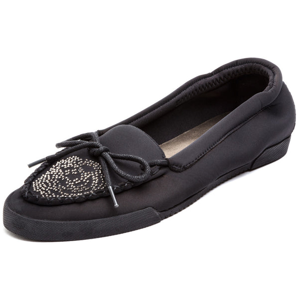Flower Power Black Slip-On Flats - Citi Trends Shoes - Front