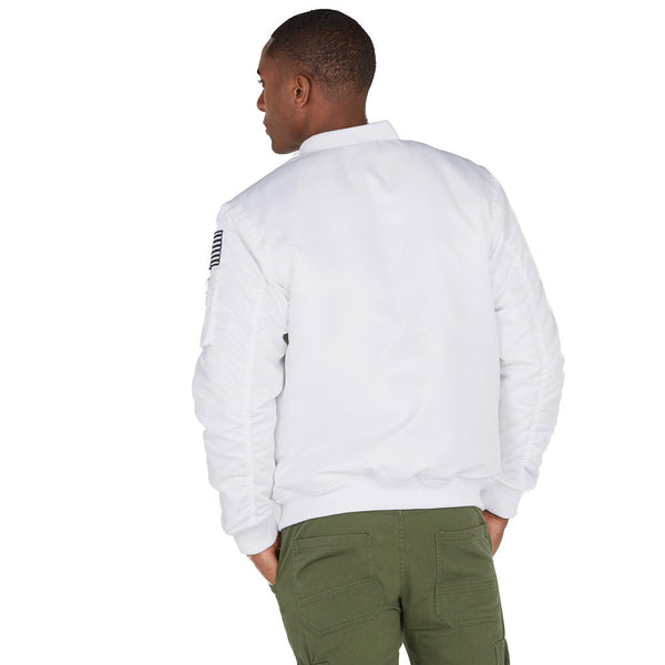 The Flight Stuff White Patchwork Bomber Jacket - Citi Trends Mens - Back