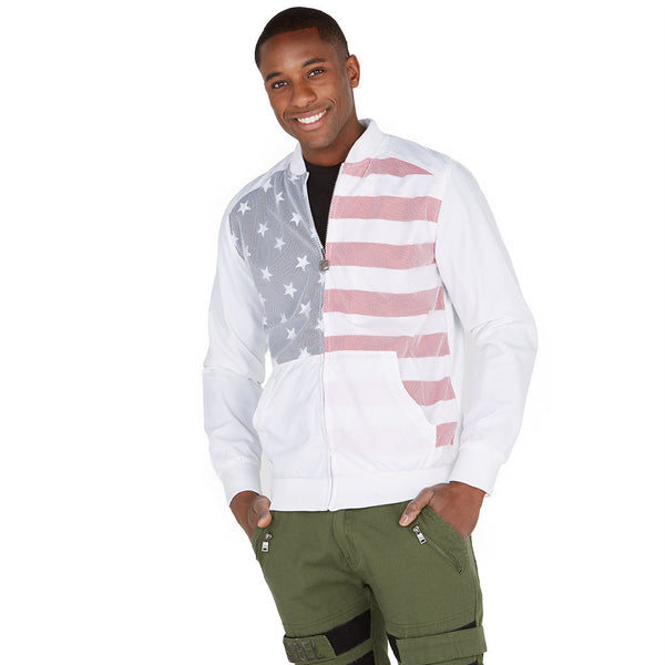 Safety Net Americana Bomber Jacket With Mesh Overlay - Citi Trends Mens - Front