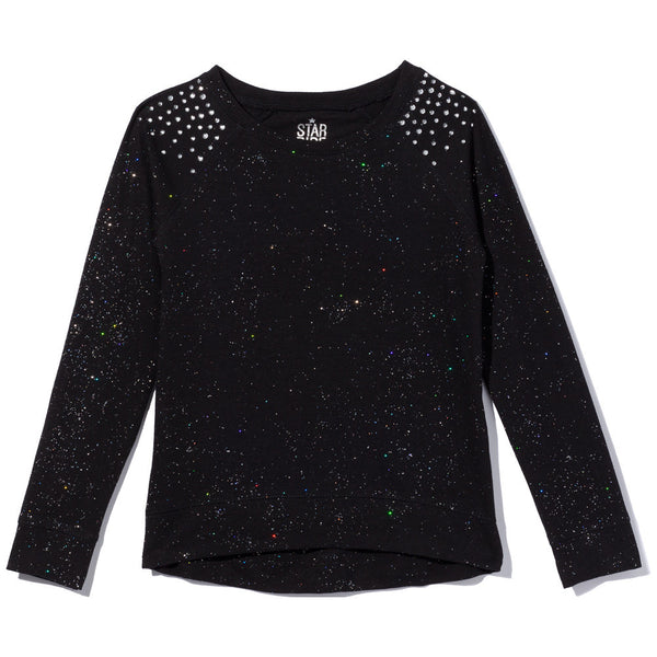 Sparkle Season Girls Black Long-Sleeve Top - Citi Trends Girls - Front