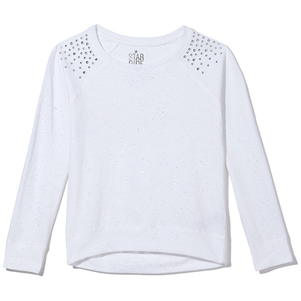 Sparkle Season Girls White Long-Sleeve Top - Citi Trends Girls - Front