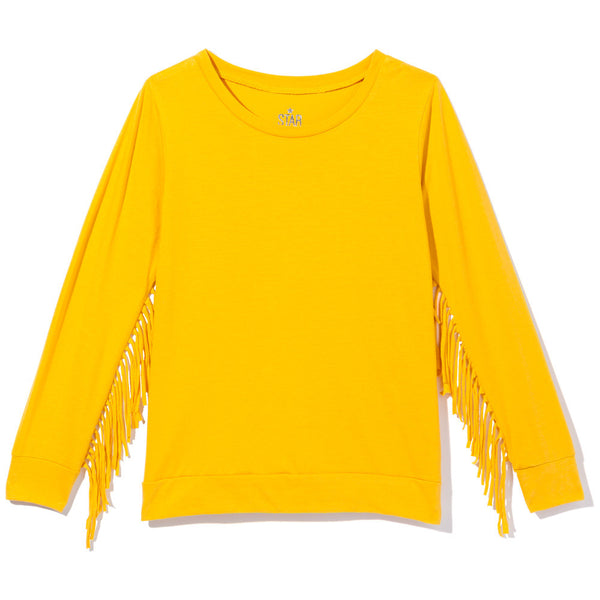Fringe Hints Girls Mustard Long-Sleeve Top - Citi Trends Girls - Front