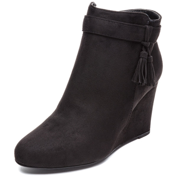 Tassel Back Time Black Faux Suede Wedge Bootie - Citi Trends Shoes - Front
