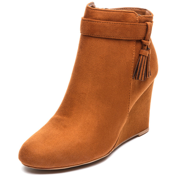 Tassel Back Time Chestnut Faux Suede Wedge Bootie - Citi Trends Shoes - Front