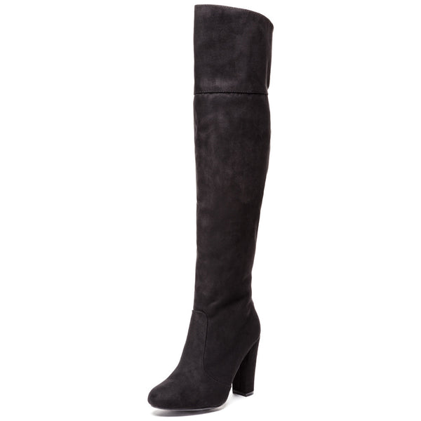 The Flip Side Black Studded Over-The-Knee Boot - Citi Trends Shoes - Front
