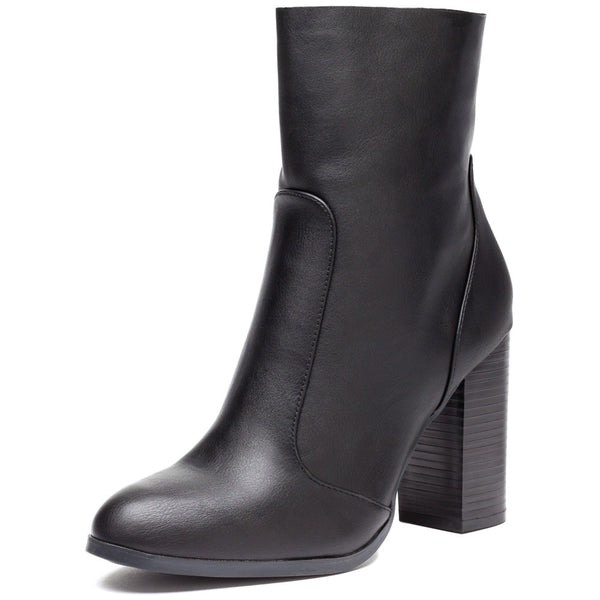 Step On It Black Stacked-Heel Bootie - Citi Trends Shoes - Front