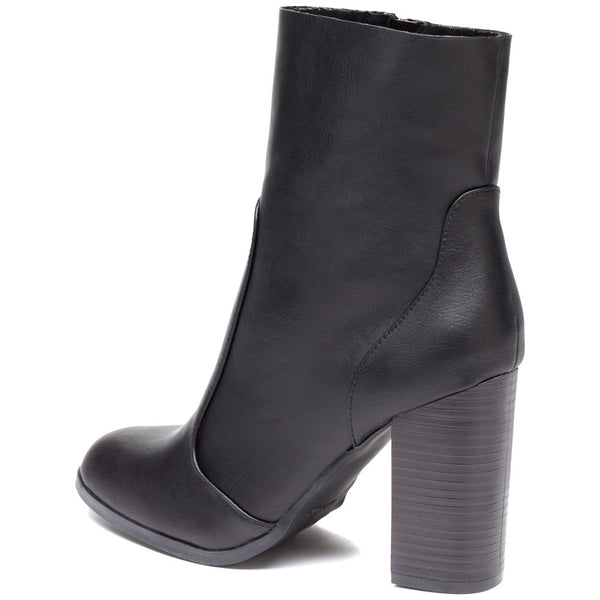 Step On It Black Stacked-Heel Bootie - Citi Trends Shoes - Back