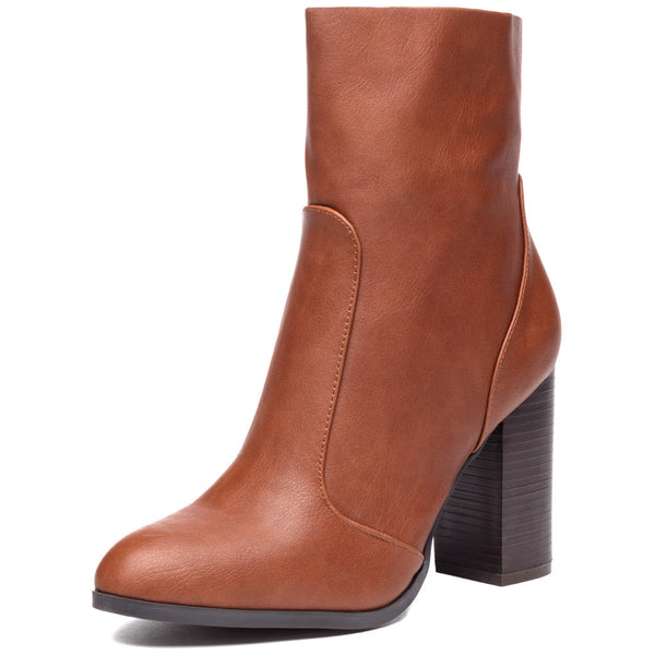 Step On It Cognac Stacked-Heel Bootie - Citi Trends Shoes - Front