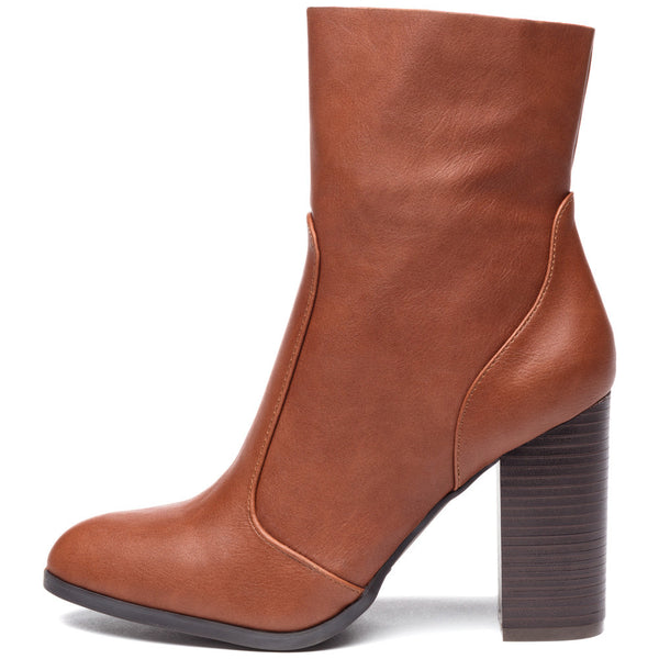 Step On It Cognac Stacked-Heel Bootie - Citi Trends Shoes - Side