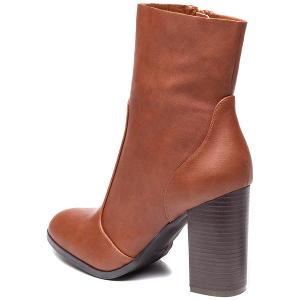 Step On It Cognac Stacked-Heel Bootie - Citi Trends Shoes - Back