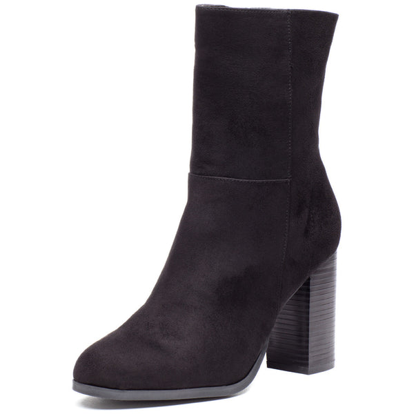Today's Agenda Black Faux Suede Stacked-Heel Bootie - Citi Trends Shoes - Front