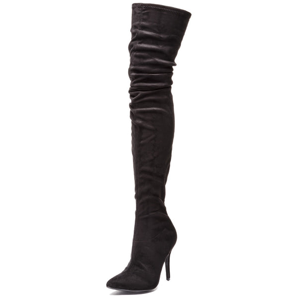 Great Heights Black Faux Suede Thigh-High Boot - Citi Trends Shoes - Front