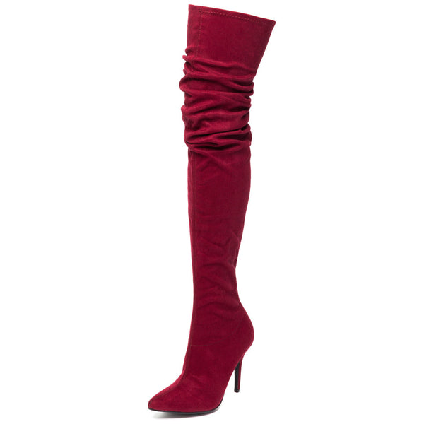 Great Heights Burgundy Faux Suede Thigh-High Boot - Citi Trends Shoes - Front