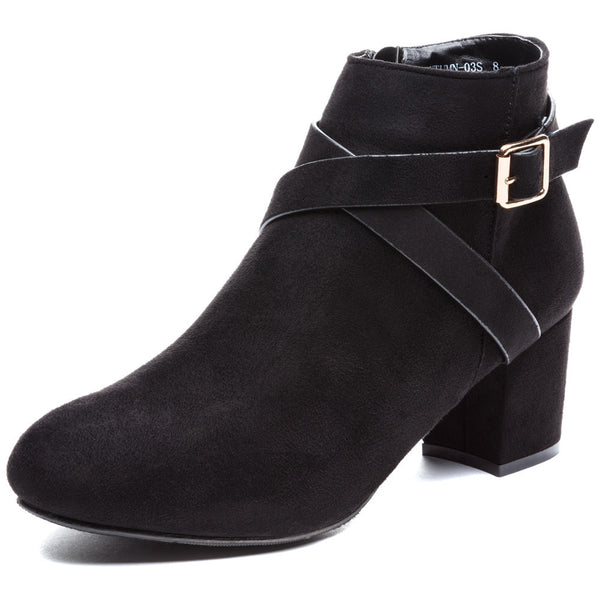 Crossroads Black Faux Suede Bootie - Citi Trends Shoes - Front