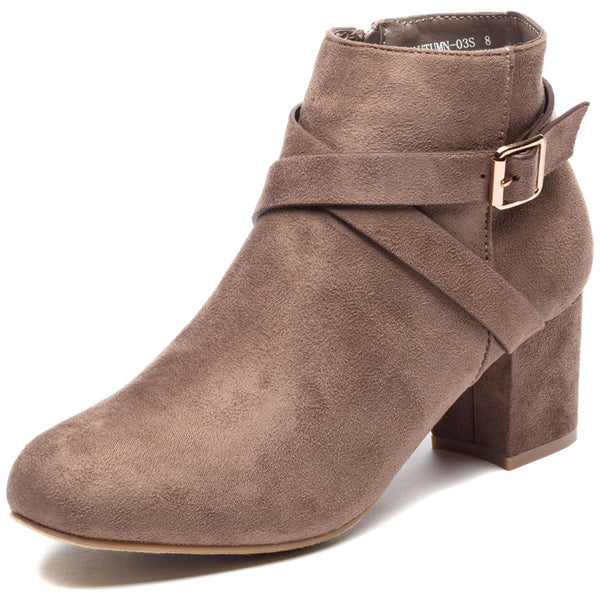 Crossroads Taupe Faux Suede Bootie - Citi Trends Shoes - Front