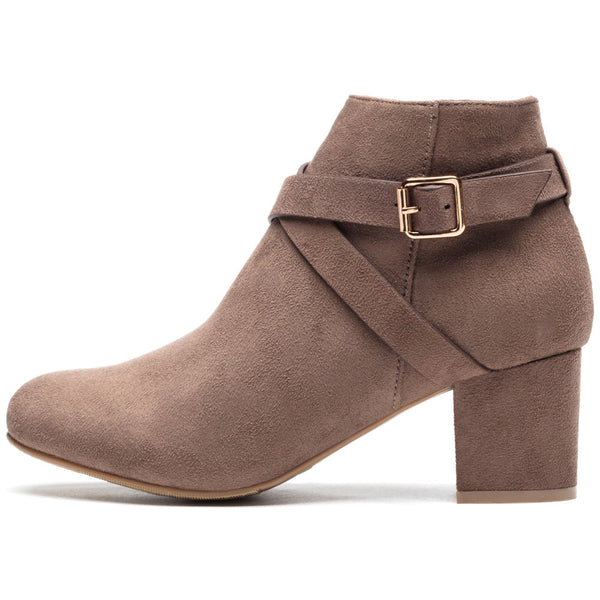 Crossroads Taupe Faux Suede Bootie - Citi Trends Shoes - Side