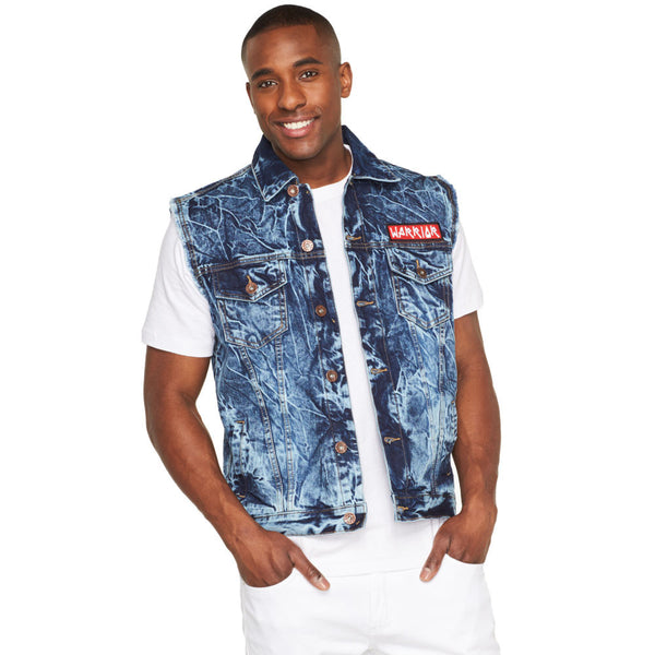 Warrior Acid Wash Graphic Denim Vest - Citi Trends Mens - Front