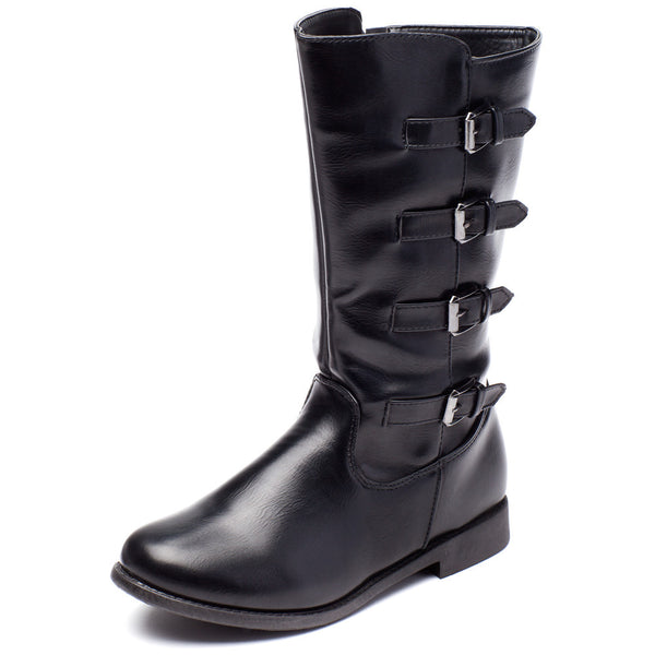 Walking Tall Girls Black Moto Boot - Citi Trends Girls - Front