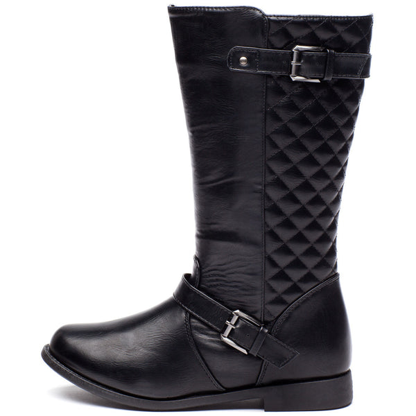 Edge To Please Girls Black Quilted Moto Boot - Citi Trends Girls - Side