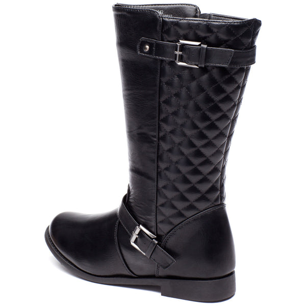 Edge To Please Girls Black Quilted Moto Boot - Citi Trends Girls - Back