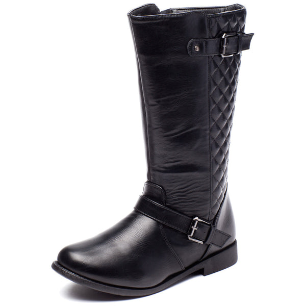Edge To Please Girls Black Quilted Moto Boot - Citi Trends Girls - Front