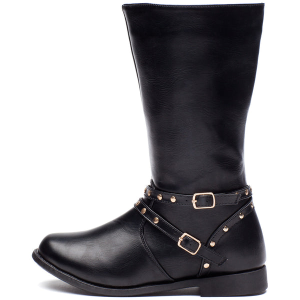 Stand Your Studded Ground Girls Black Moto Boot - Cititrends Girls - Side