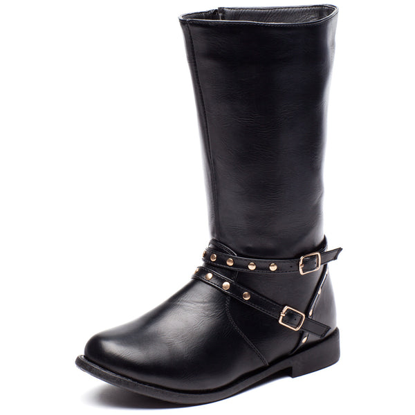 Stand Your Studded Ground Girls Black Moto Boot - Cititrends Girls - Front