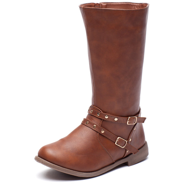 Stand Your Studded Ground Girls Brown Moto Boot - Citi Trends Girls - Front
