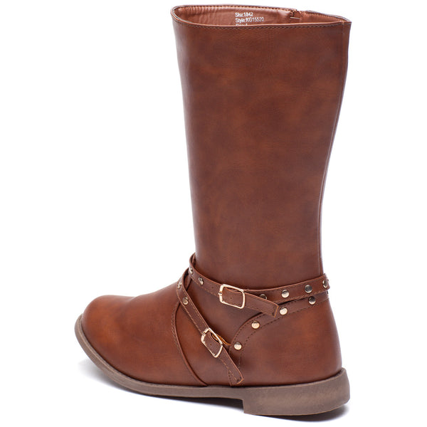 Stand Your Studded Ground Girls Brown Moto Boot - Citi Trends Girls - Back