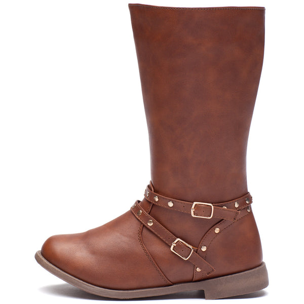 Stand Your Studded Ground Girls Brown Moto Boot - Cititrends Girls - Side