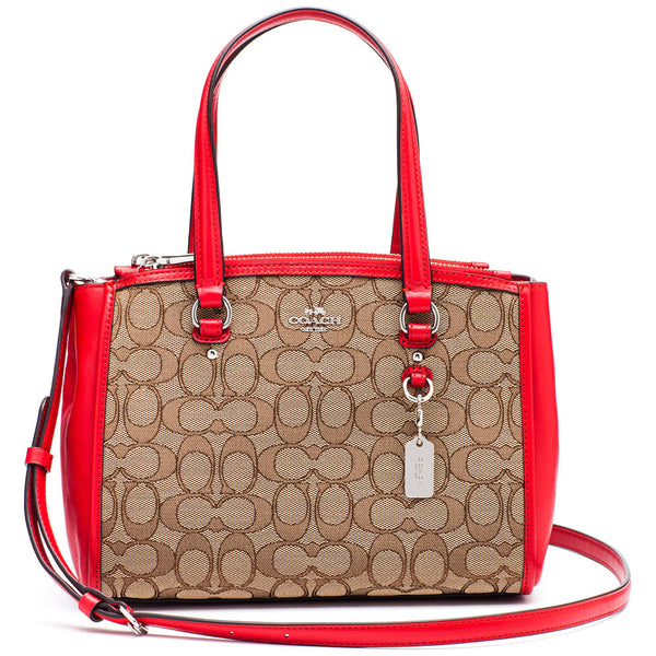 Coach Brown Signature Stanton 26 Carryall With Red Trim - Citi Trends Designer - Front