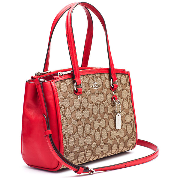 Coach Brown Signature Stanton 26 Carryall With Red Trim - Citi Trends Designer - Side