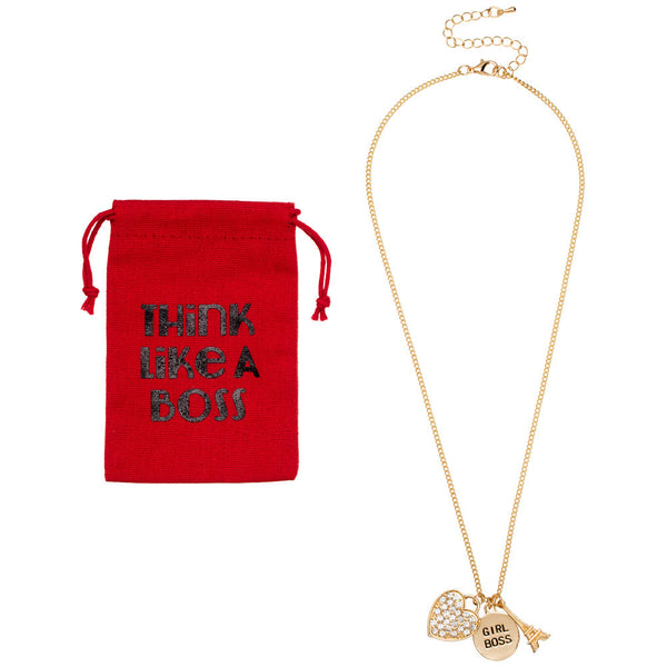 Think Like A Boss Gold Charm Necklace With Pouch - Citi Trends Accessories - Front