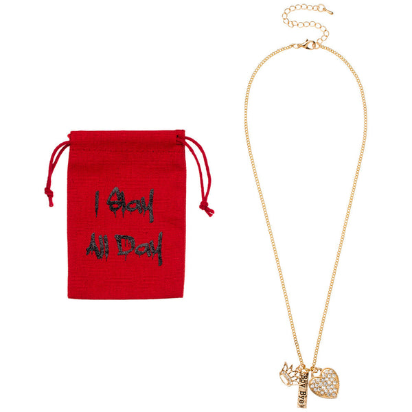 I Slay All Day Gold Charm Necklace With Pouch - Citi Trends Accessories - Front