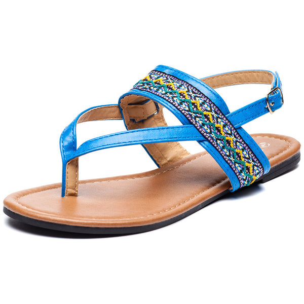 Az-Trecking Along Girls Blue Thong Sandal - Citi Trends Girls - Front