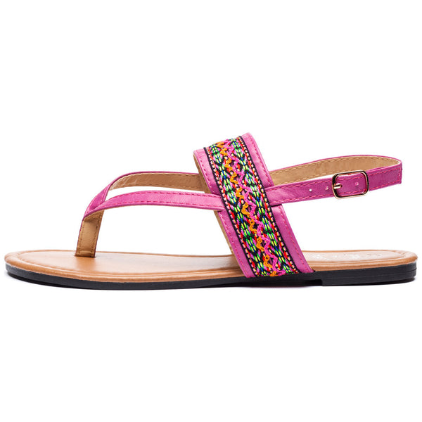 Az-Trecking Along Girls Fuchsia Thong Sandal - Citi Trends Girls - Side