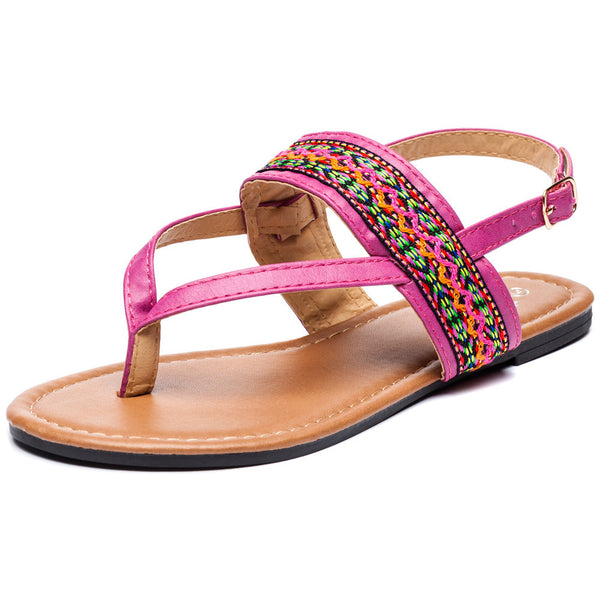 Az-Trecking Along Girls Fuchsia Thong Sandal - Citi Trends Girls - Front