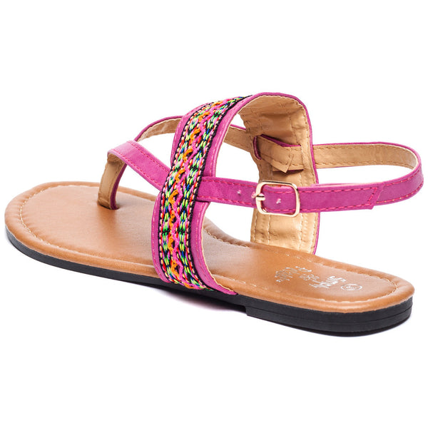 Az-Trecking Along Girls Fuchsia Thong Sandal - Citi Trends Girls - Back