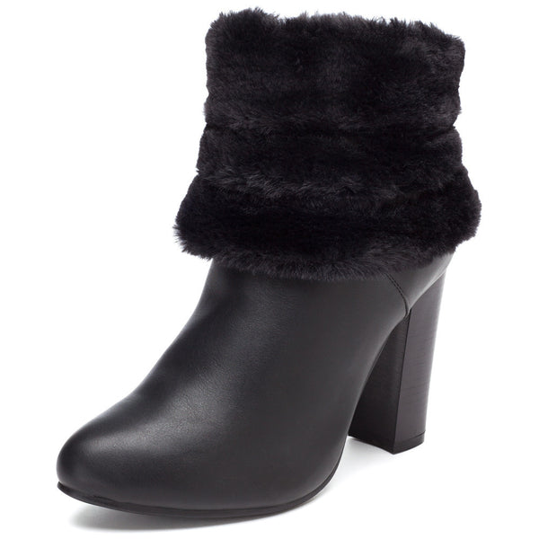 The Posh Path Black Bootie With Faux Fur Trim - Citi Trends Shoes - Front