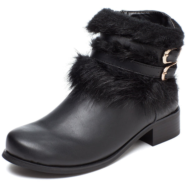 Don't Furry About It Black Buckle Boot - Citi Trends Shoes - Front