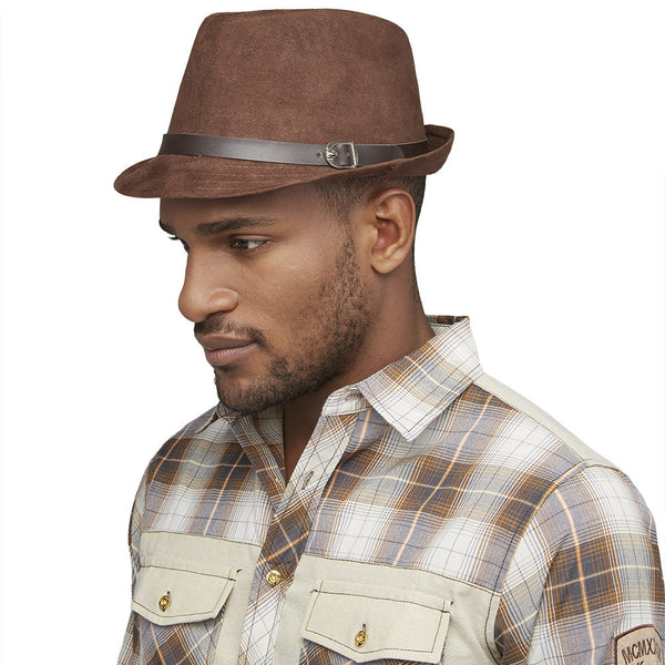 Back On Top Brown Faux Suede Fedora - Citi Trends Mens - Side