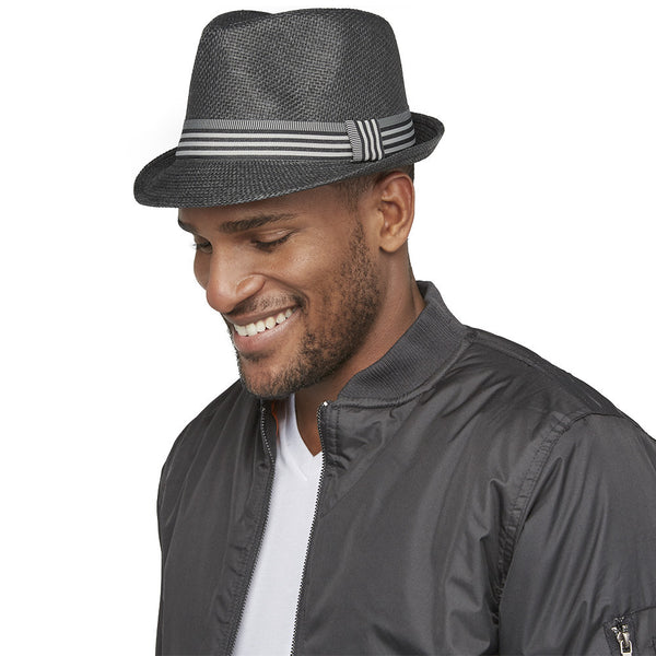 Stripe Sense Black Straw Fedora - Citi Trends Mens - Side