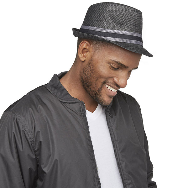 Top It Off Black Straw Fedora With Chevron Striped Trim - Citi Trends Mens - Right Profile