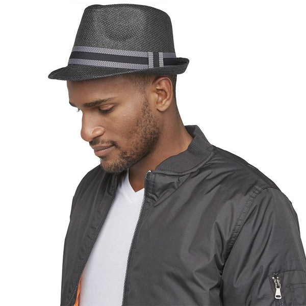 Top It Off Black Straw Fedora With Chevron Striped Trim - Citi Trends Mens - Left Profile