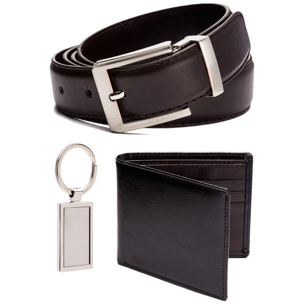 Classic Good Looks Brown Leather Belt, Wallet And Keychain Set - Citi Trends Mens - Front