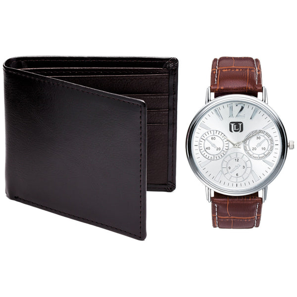 Arrive In Style Brown Leather Wallet And Watch Set - Citi Trends Mens - Front