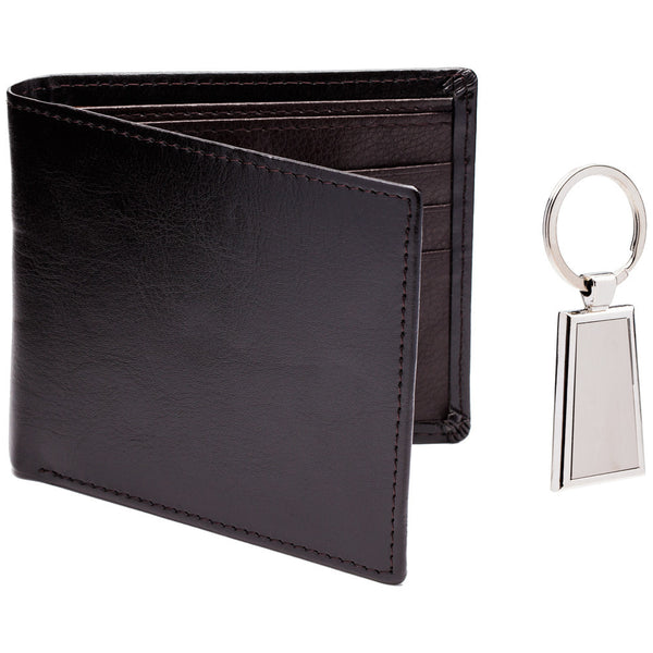 Pair Point Brown Leather Wallet And Keychain Set - Citi Trends Mens - Front
