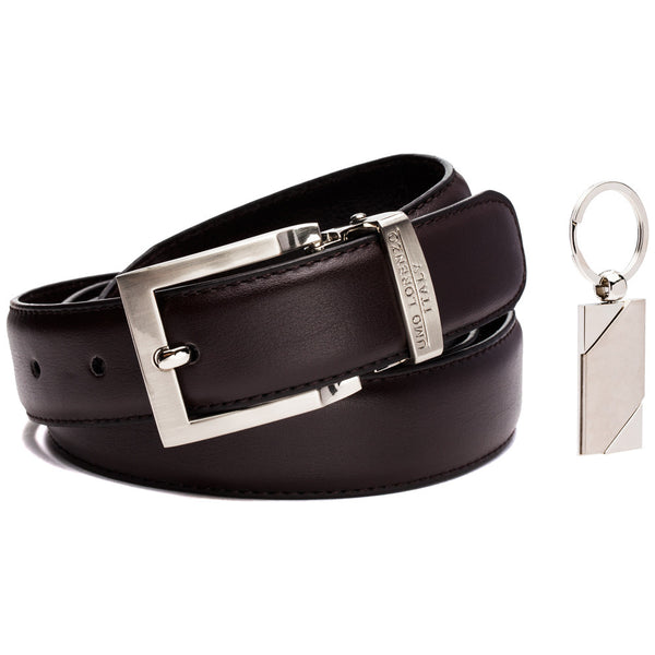 Polish Off The Look Brown Leather Belt And Keychain Set - Citi Trends Mens - Front